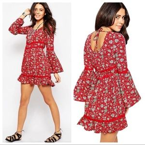 Band of Gypsies Red Lace Bell sleeve Mini Dress XS